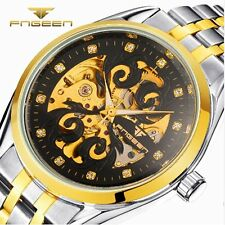 Mechanical Wrist Automatic Watch Sport Mens Skeleton Steel Band Analog Military