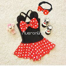 Kids Girl One Piece Polka Dot Minnie Mouse Swimsuit Bikini Set Skirted Swimwear