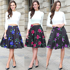 New Womens High Waist Full Circle Jive Skater A Line Midi Skirt Size 8 10 18 20