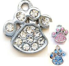 10 Crystal Rhinestones Dog Paw Silver Plated Charm/pandent/glass/Bead K1-Color