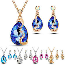 Women Waterdrop Pendant Rhinestone Inlaid Necklace Earrings Jewelry Set Exotic