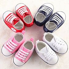0~12M Infant Newborn Baby Boy Girls Comfy Soft Sole Shoes Canvas Sneaker