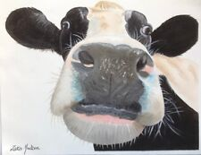 "ZARA HUDSON ORIGINAL FARM ANIMAL OIL PAINTING ON CANVAS MARKED COW 11"" X 9"""