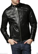 Men's genuine black Cow leather Jacket biker Bomber cowhide Coat = LJ1421