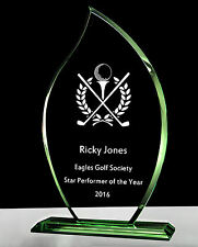 Personalised Star Performer Golf Glass Award Trophy Jade Flame Laser Engraved