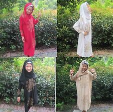 Muslim Abaya Kids Hooded Scarf dress Islamic Clothing Dubai Flower maxi dress