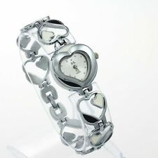 Fashion Heart Lady Girl Watches Quartz Silver Stainless Steel Wristwatch O50