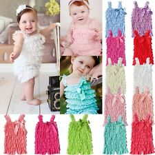 One-piece Baby Girl Infant Baptism Lace Ruffles Tiered Romper Jumpsuit Dress Bow
