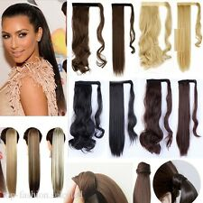 Real Thick Clip In Natural Human Hair Extensions Pony Tail Wrap On Ponytail Wavy