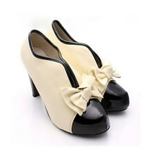 New Women's Beige Sexy High Heel Tie Platform Bow Pump Fashion Ankle Shoes Boots