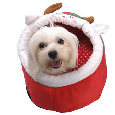 New Red Christmas Pet Dog Cat House Beds Kennel Puppy Tent nest Soft Basket