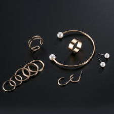 FASHION OPENING BANGLE IMITATION PEARL EARRINGS RINGS WOMEN JEWELRY SET LIVELY