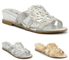 WOMENS LADIES SPARKLING DIAMANTE LOW WEDGE HEEL PARTY SHOES SLIP ON SANDALS SIZE