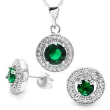 925 Sterling Silver 1.99 Carat Green CZ Halo Pendant and Earring Set