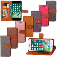 Luxury Embossed Leather Buckle Card Holder Wallet Stand Cover Case For iPhone