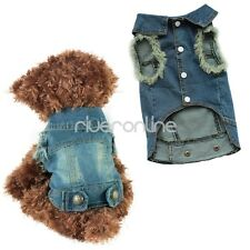 Pet Small Dog Blue Coat Jacket Clothes Costume Apparel Blue Jeans Lapel Jumpsuit