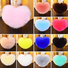 1PCS Soft Rabbit Fur Heart Shape Ball PomPom Car Handbag Key Chain Ring Little