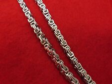 "16""-50"" STAINLESS STEEL SILVER 5MM BYZANTINE BOX CHAIN NECKLACE"