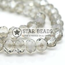 FACETED RONDELLE CRYSTAL GLASS BEADS SILVER SHADE 4MM,6MM,8MM,10MM,12MM