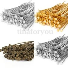 200/250Pcs Bronze/Silver/Gold Plated Metal Flat Head Eye Pins Jewelry 35-50MM