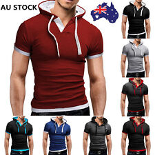 AU Men Polo Slim Casual Hoody Short Sleeve T-Shirt Stylish Fit Sports Tops Tee