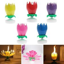Party Cake Topper Blossom Lotus Flower Candles Musical Rotating Birthday Decor