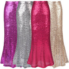 Sexy Ladies Mermaid Fancy Dress Sequin Fishtail Ball Gown Party Long Maxi Skirt