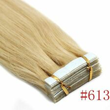 PU Seamless Skin Tape In Remy Human Hair Extensions Straight  #613 Light Blonde