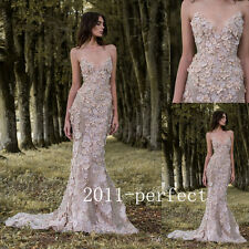 2017 Luxury Evening Dresses Handmade Flower Beaded Appliques Formal Prom Gowns
