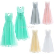 Girls Flower Tulle Dress Backless Princess Pageant Wedding Bridesmaid Party Gown