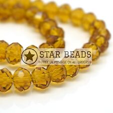 FACETED RONDELLE CRYSTAL GLASS BEADS TOPAZ 4MM,6MM,8MM,10MM