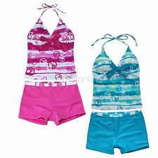 New Girls Swimwear Tankini Set Halter Bikini Swimsuit Shorts Bathing Beachwear