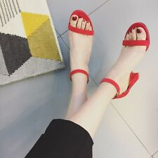 Simple Open Toe Block Heel Ankle Strap Buckle Suede Solid Sandals Women Shoes