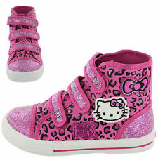 Girls HELLO KITTY Pink Canvas Pumps Hi Top Trainers NEW Size 10,11,12,13,1,2
