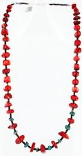 $300Tag Silver Navajo Graduated Coral Turquoise Native American Necklace