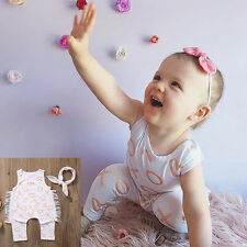 Cotton Romper Jumpsuit Outfit With Headband Newborn Baby Kid Infant Bodysuit UK