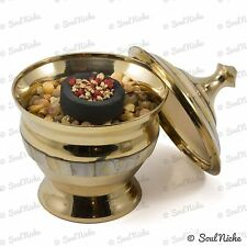 Small Mother of Pearl Brass Bowl Pot Resin Incense Charcoal Burner (BOWL29)