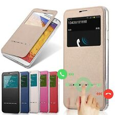 Slim Flip Window View Leather Smart Case Cover For Apple iPhone Samsung Galaxy H