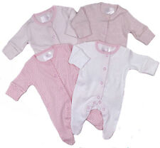 Baby Girls Ex Store Four Pack Sleepsuits Baby Grows TB To 18-24M Pretty Pinks