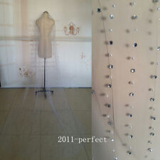 Luxury Cathedral Length Crystals Beads Edge Bridal Wedding Veil Custom White New