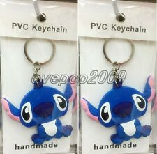 Lot Cartoon Stitch Double sided Rubber Key rings Key Chain Party Favors A445