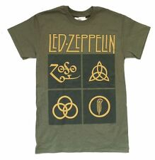 Led Zeppelin Jumbo Runes Image Army Green T Shirt New Official