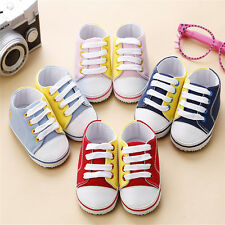 Baby Canvas Shoes Soft Lace up Sneakers Boys Girls Infant Toddler Prewalker HOT
