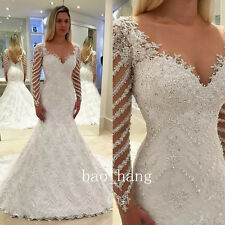 2017 New Wedding Dress Mermaid Lace Beaded V-neck Long Sleeve Bridal Gown Custom