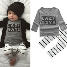 Toddle Unisex Baby Letter Pattern Striped Long Sleeve T-shirt Top Pants Goodish