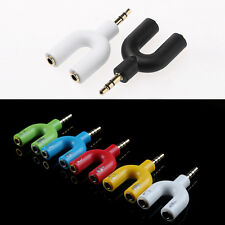 3.5 mm Stereo Audio Y-Splitter 2 Female to 1 Male Cable Adapter For Earphone
