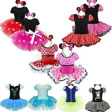 Girls Kids Minnie Mouse Fancy Dress Up Costume Cosplay Tutu Skirt Outfits + Ears