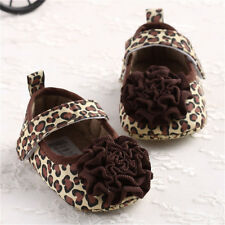 Anti-slip Toddler Girl Crib Shoes Baby Leopard Flower Soft Sole Sneakers 0 -12M