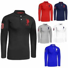 Mens US Polo Assn Long Sleeve Polo Shirt Pique Top 2017 Style Collared T-shirt