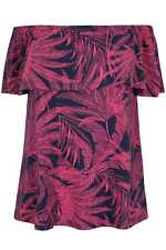 YoursClothing Plus Size Womens Ladies Palm Print Frill Bardot Jersey Top